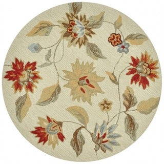 Hand-hooked Savannah Ivory/ Red Rug (3' Round)