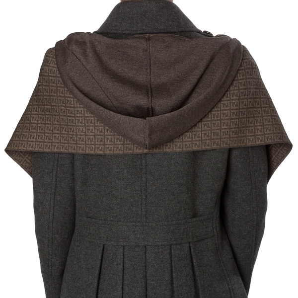 Fendi Heather Brown Zucchino Wool Hooded Scarf