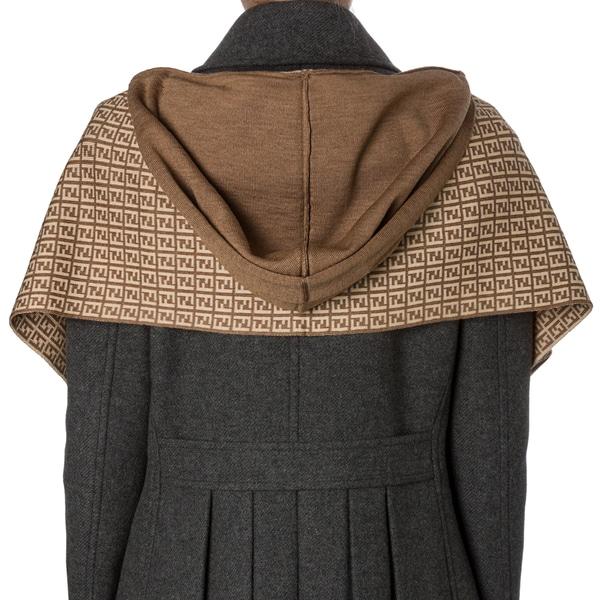 Fendi Tan/ Khaki Zucchino Wool Hooded Scarf