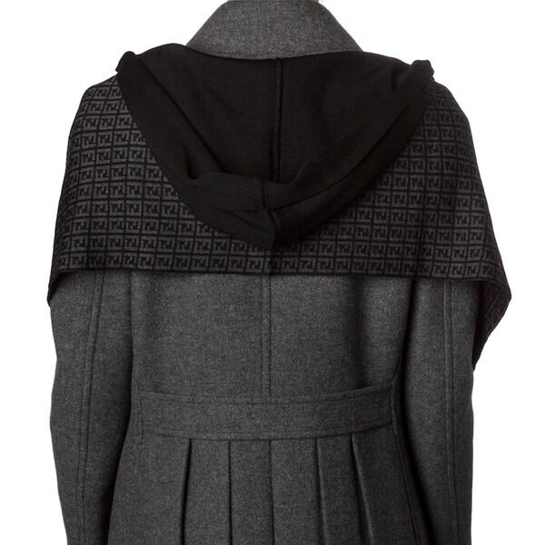 Fendi Black/ Grey Zucchino Wool Hooded Scarf