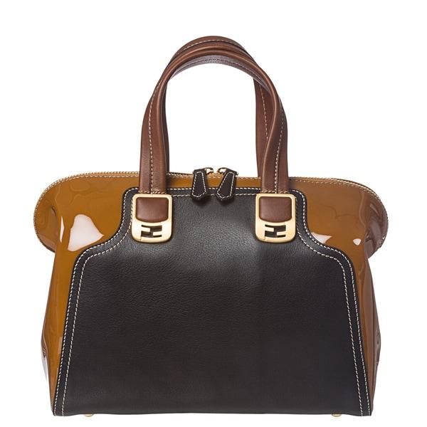 Fendi 'Chameleon' Tan/ Black Color-block Leather Satchel