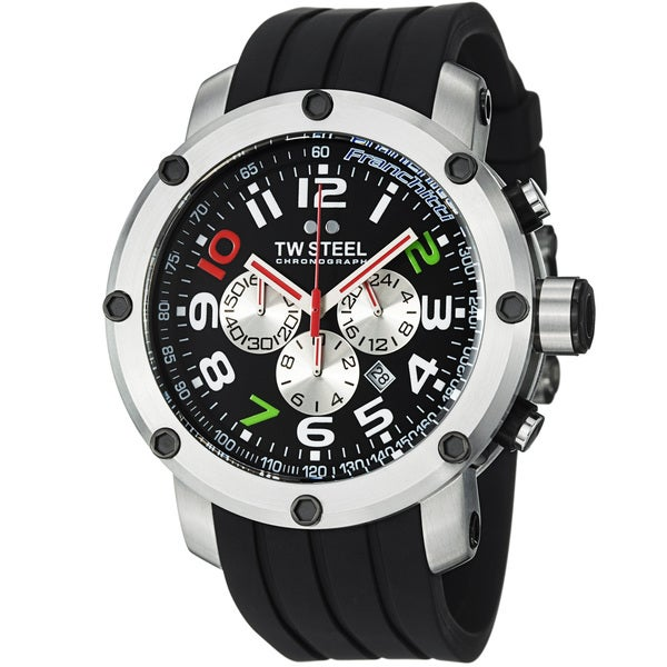 TW Steel Men's 'GrandeurTech' Black Dial Chronograph Strap Watch