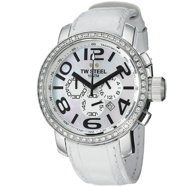 TW Steel Men's TW54 'Grandeur' Mother Of Pearl Dial White Strap Watch