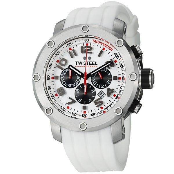 TW Steel Men's 'GrandeurTech' White Dial Rubber Strap Quartz Watch
