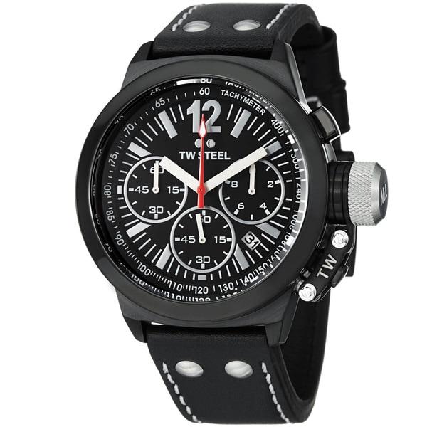 TW Steel Men's 'Ceo Canteen' Black Dial Leather Strap Quartz Watch