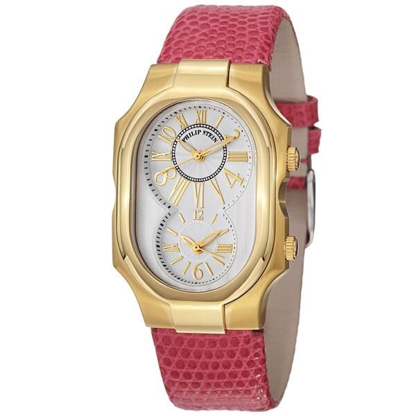 Philip Stein Women's 'Signature' Pink Leather Strap Goldtone Watch