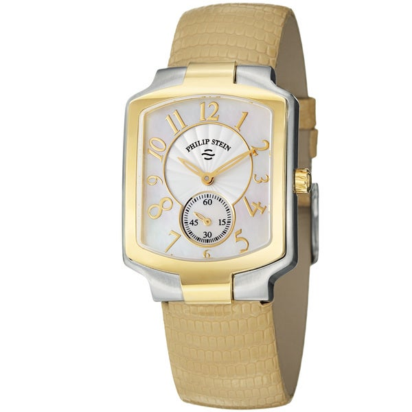 Philip Stein Women's 'Signature' Tan Leather Strap Two Tone Watch