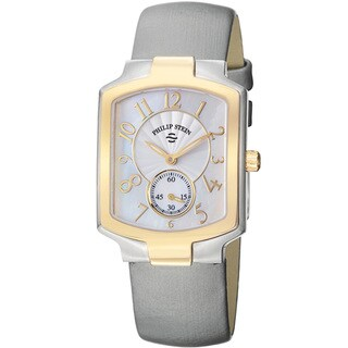 Philip Stein Women's 'Signature' Mother Of Pearl Dial Grey Strap Watch