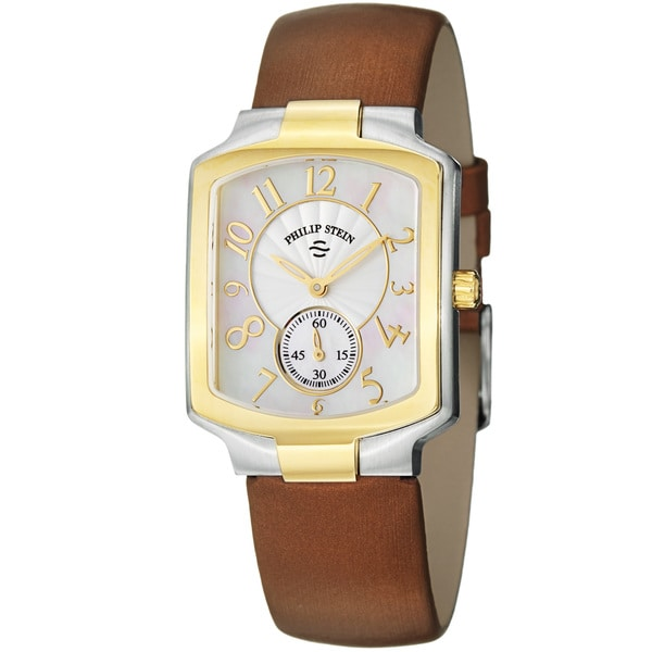 Philip Stein Women's 'Signature' Mother Of Pearl Dial Two Tone Watch