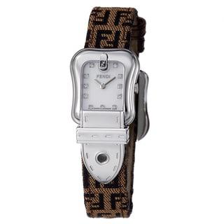 Fendi Women's 'B. Fendi' Diamond Dial Brown Fabric Strap Quartz Watch