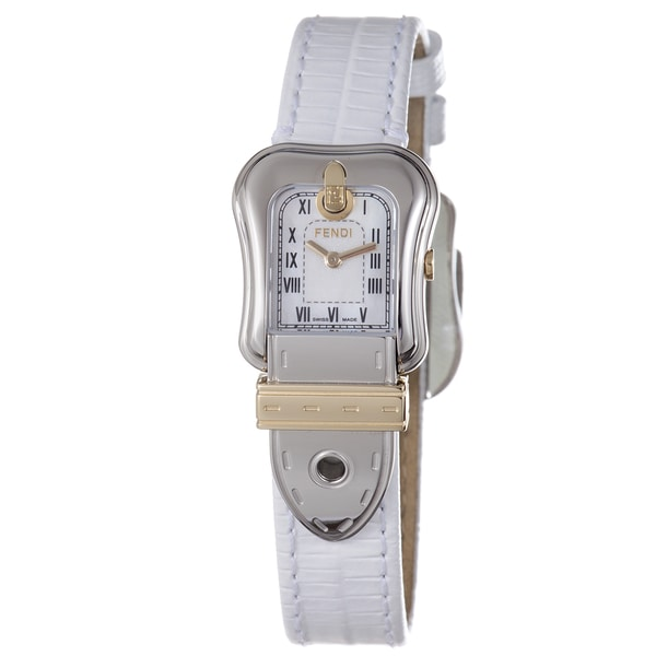 Fendi Women's F372244 'B Fendi' Mother of Pearl Dial White Leather Strap Watch