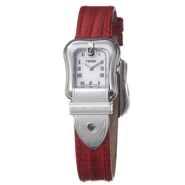 Fendi Women's 'B. Fendi' Mother Of Pearl Dial Red Strap Quartz Watch