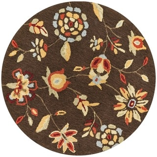 Hand-hooked Savannah Brown Rug (3' Round)