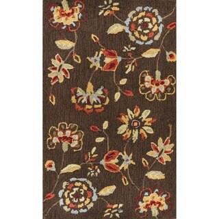 Hand-hooked Savannah Brown Rug (2'3 x 3'9)