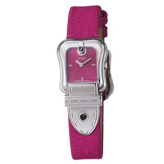 Fendi Women's F370277F 'B. Fendi' Hot Pink Dial Hot Pink Leather Strap Watch