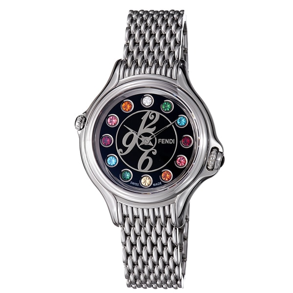 Fendi Women's 'Crazy Carats' Black Crystal Dial Stainless Steel Watch