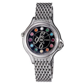 Fendi Women's F105031000T02 'Crazy Carats' Black Crystal Dial Stainless Steel Watch