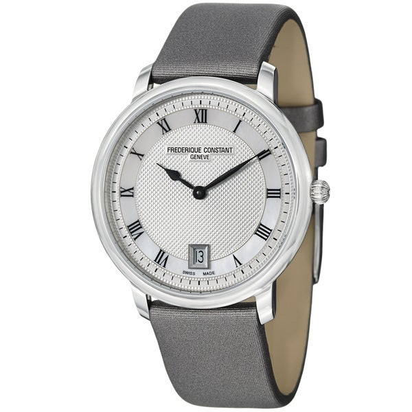 Frederique Constant Unisex 'Slim Line' Grey Satin Strap Quartz Watch