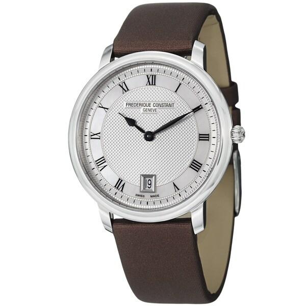 Frederique Constant Unisex FC-220M4S36-2 'Slim Line' Brown Satin Strap Quartz Watch