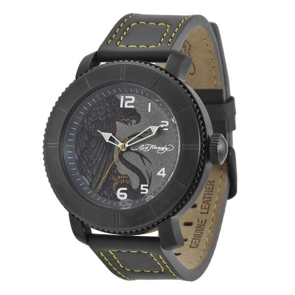 Ed Hardy Men's Black Steel Eagle Watch
