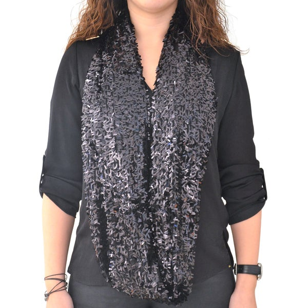 Roffe Women's Black Sequined Infinity Scarf