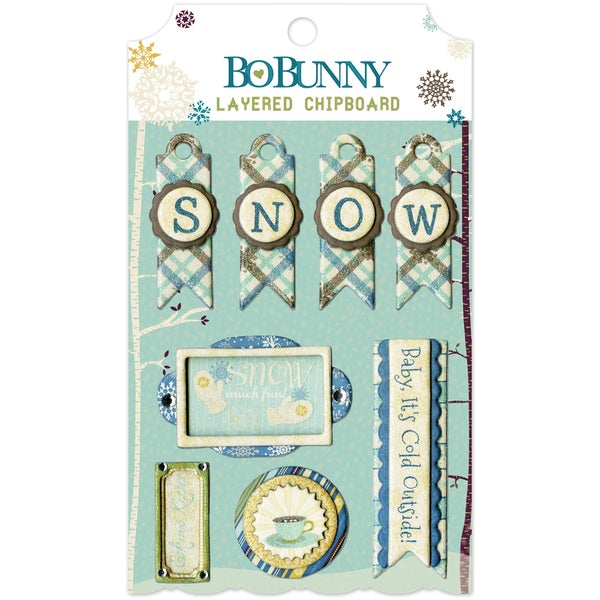 Snow Day Self-Adhesive Layered Chipboard-