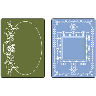 Sizzix Textured Impressions Embossing Folders 2/Pkg-Holiday Frames