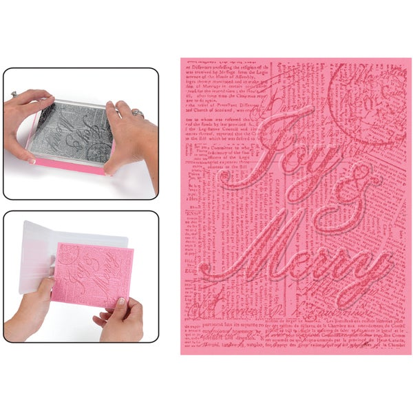 Sizzix Textured Impressions Embossing Folder & Stamp Set-Hero Arts Joy & Merry
