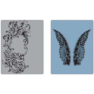 Sizzix Texture Fades Embossing Folders By Tim Holtz 2/Pkg-Flourish & Wings