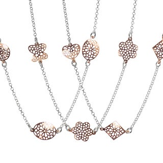 Journee Collection Rose Gold Plated Sterling Silver Necklace