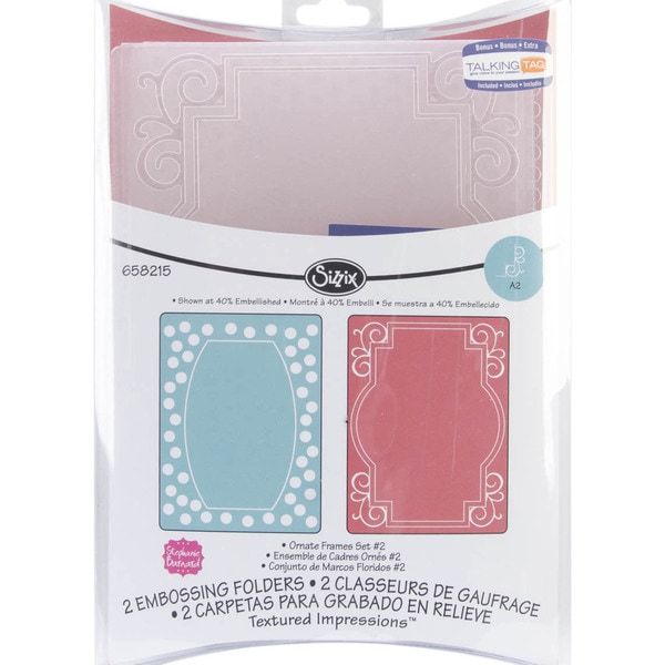 Sizzix Textured Impressions Embossing Folders 2/Pkg-Ornate Frames #2
