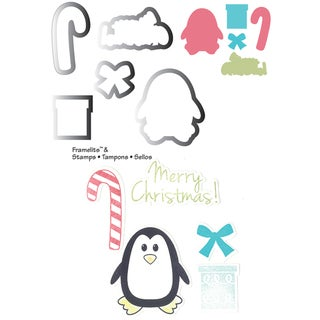 Sizzix Framelits Dies 5/Pkg With Cling Stamps-Penguin & Candy Canes