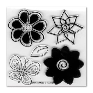 Sizzix Framelits Dies 5/Pkg With Cling Stamps-Flowers #4
