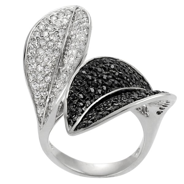 Journee Collection Sterling Silver Cubic Zirconia Leaf Ring