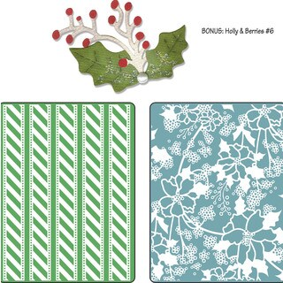 Sizzix Textured Impressions/Bonus Sizzlits By Basic Grey-Nordic Holiday Alpine Pattern, Flowers