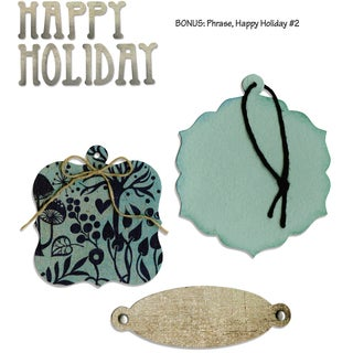 Sizzix Bigz With Bonus Sizzlits Die By Basic Grey-Nordic Bookplate, Tags Happy Holiday