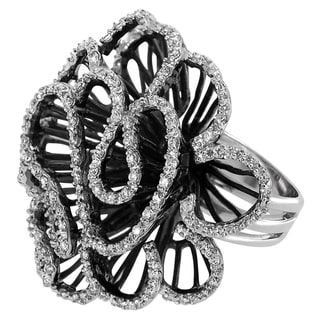 Journee Collection Sterling Silver Cubic Zirconia Flora-inspired Ring