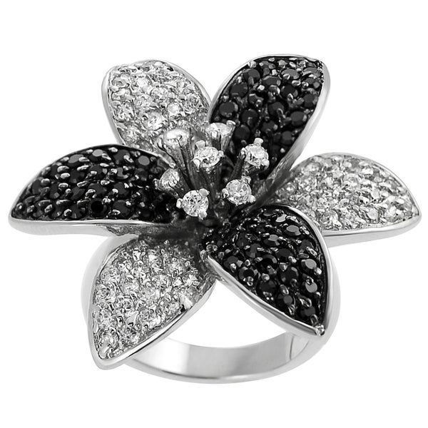 Journee Collection Sterling Silver Black and White Cubic Zirconia Ring