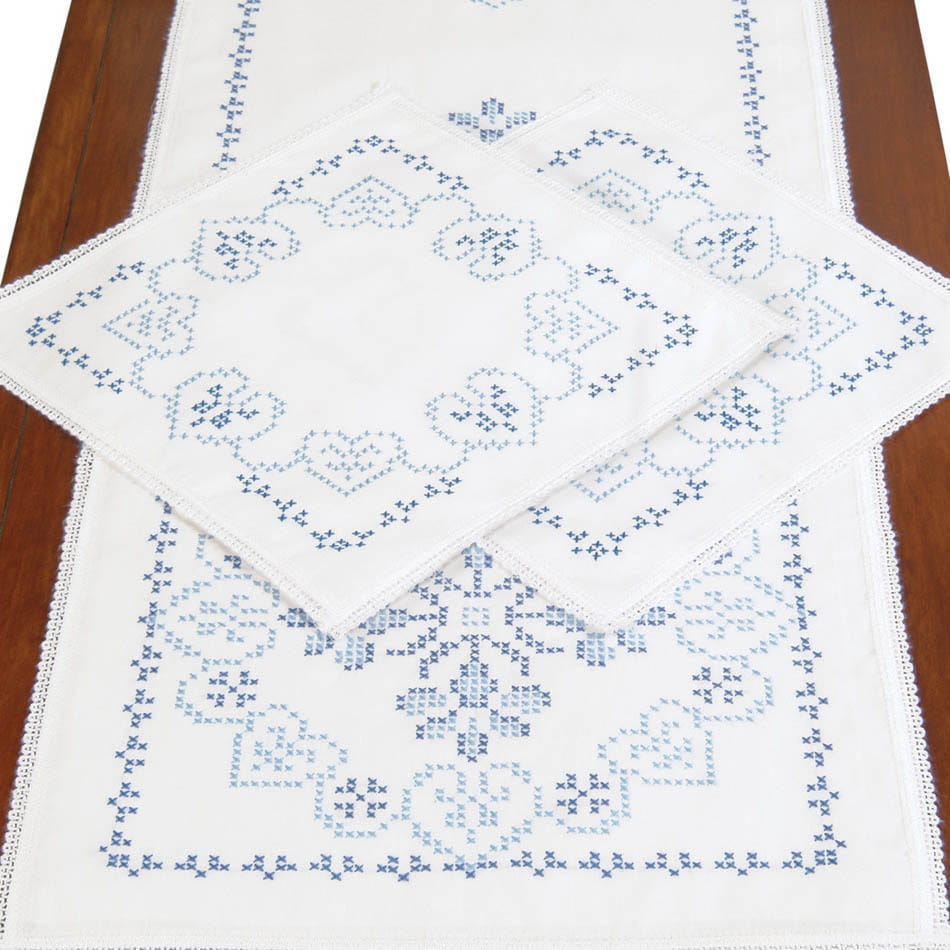 Jack Dempsey Stamped Dresser Scarf & Doilies Lace Edge 3/...