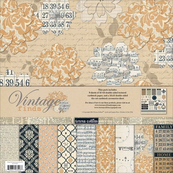 "Vintage Finds Collection Pack 12""X12""-"