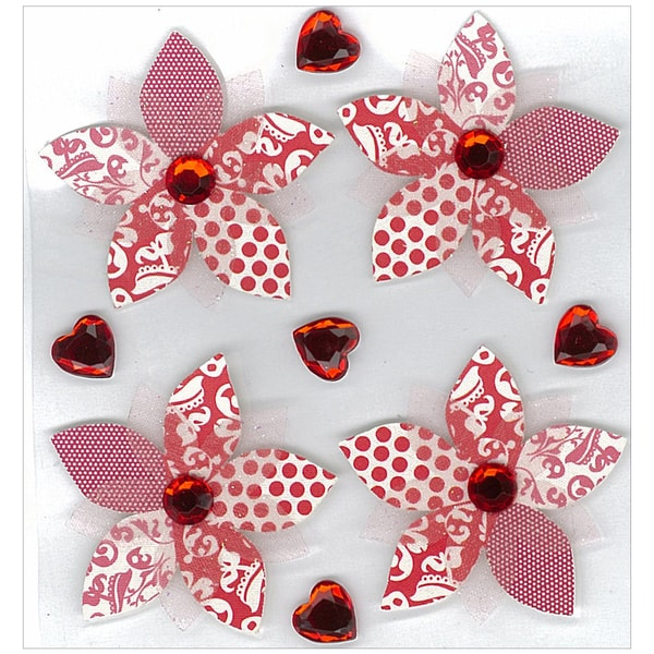 Jolee's Boutique Valentine Stickers-Red Patterned Flowers