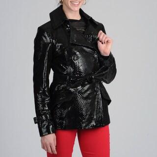 Via Spiga Women's Black Embossed Genuine Patent Leather Trench Coat