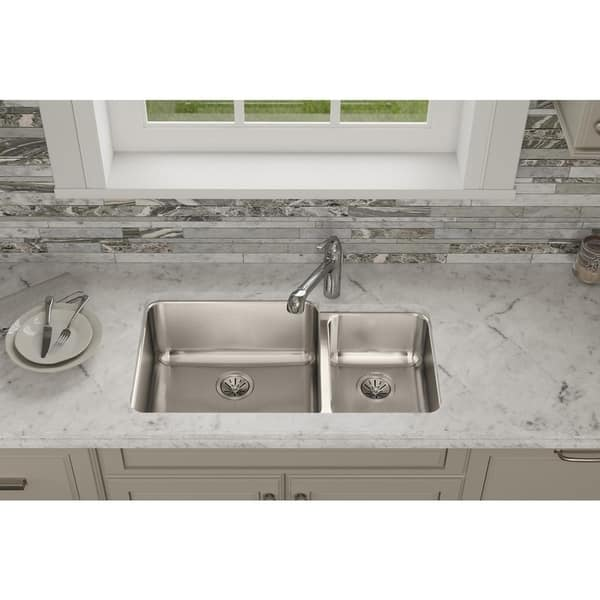 Elkay Ertone Clic Stainless Steel 35 1 4 X 20 2 9 7 8 Offset 60 40 Double Bowl Undermount Sink 7583761
