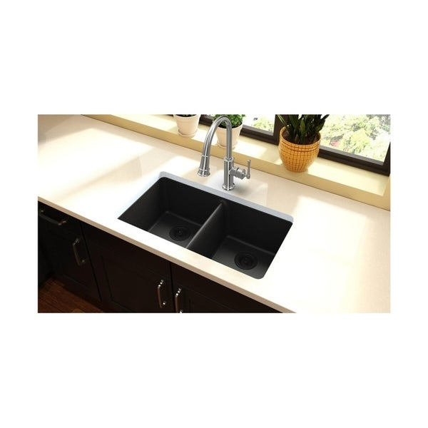 "Elkay Quartz Classic 33"" x 18-1/2"" x 9-1/2"", Equal Double Bowl Undermount Sink - 33 x 18-1/2 x 9-1/2"