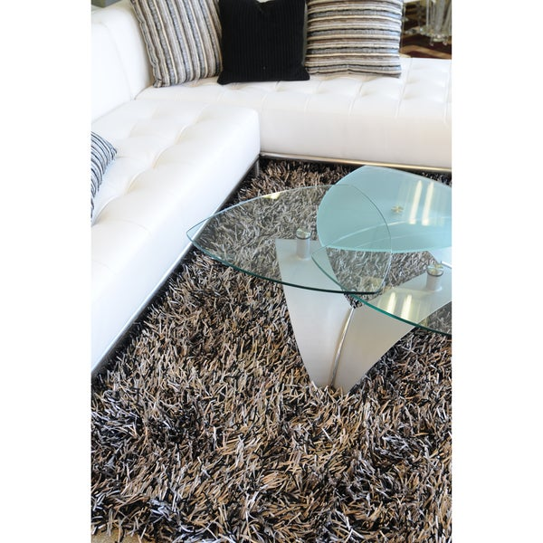 Hand-tufted Rocco Brown/ Beige Shag Rug - 7'6 x 9'6