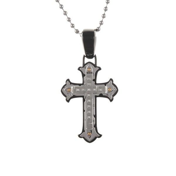 Stainless Steel Men's Diamond Cross Necklace