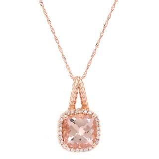 14k Rose Gold Morganite and White Diamonds Pendant Necklace