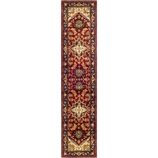 Safavieh Handmade Heritage Traditional Heriz Red/ Navy Wool Rug (2'3 x 22')
