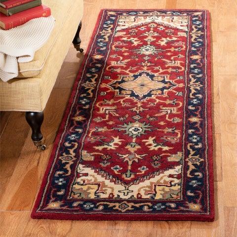 Safavieh Handmade Heritage Traditional Heriz Red/ Navy Wool Rug - 2'3 x 6'