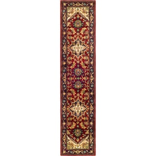 Safavieh Handmade Heritage Traditional Heriz Red/ Navy Wool Rug (2'3 x 6')